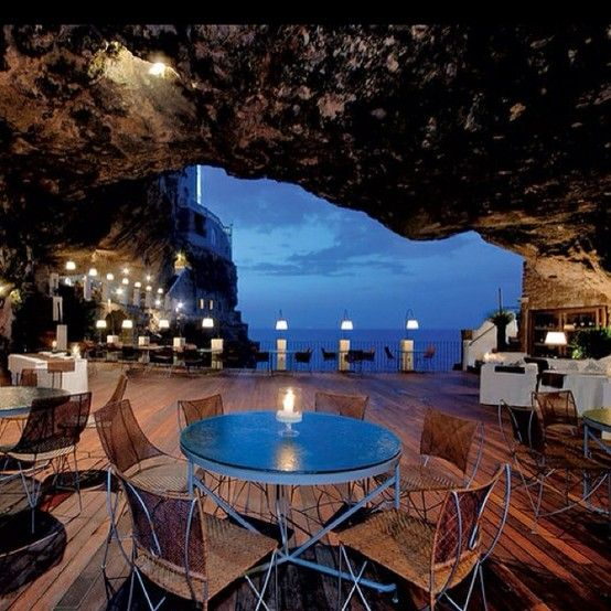 Puglia, Italy's cave restaurant  I want to go to there.