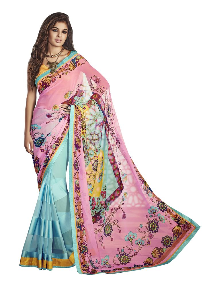 Buy Now Pink-Sky Blue Weightless Georgette Festival Wear Saree with Dhupian Blouse only at Lalgulal. Price : 1,912 inr, COD & Free Shipping Available only in India. To Order :- http://goo.gl/Zo2mMN