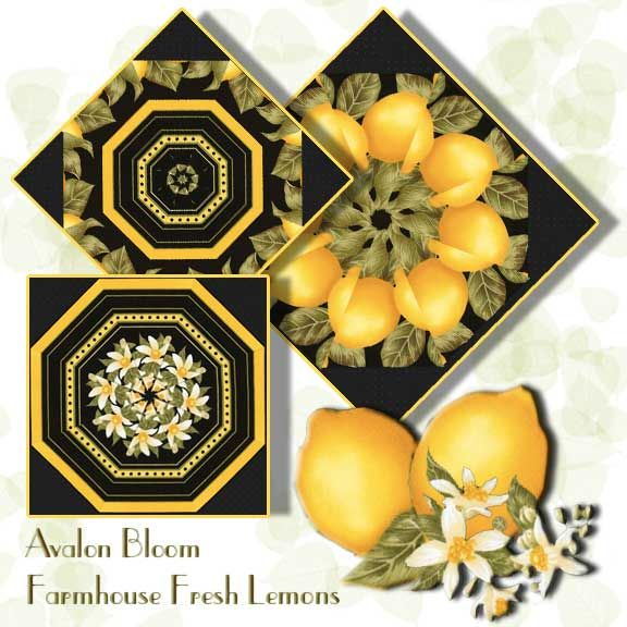 Farmhouse Fresh Lemons Kaleidoscope Quilt Block Kit Lemons and Blossoms so fresh they must have just been plucked from the tree.