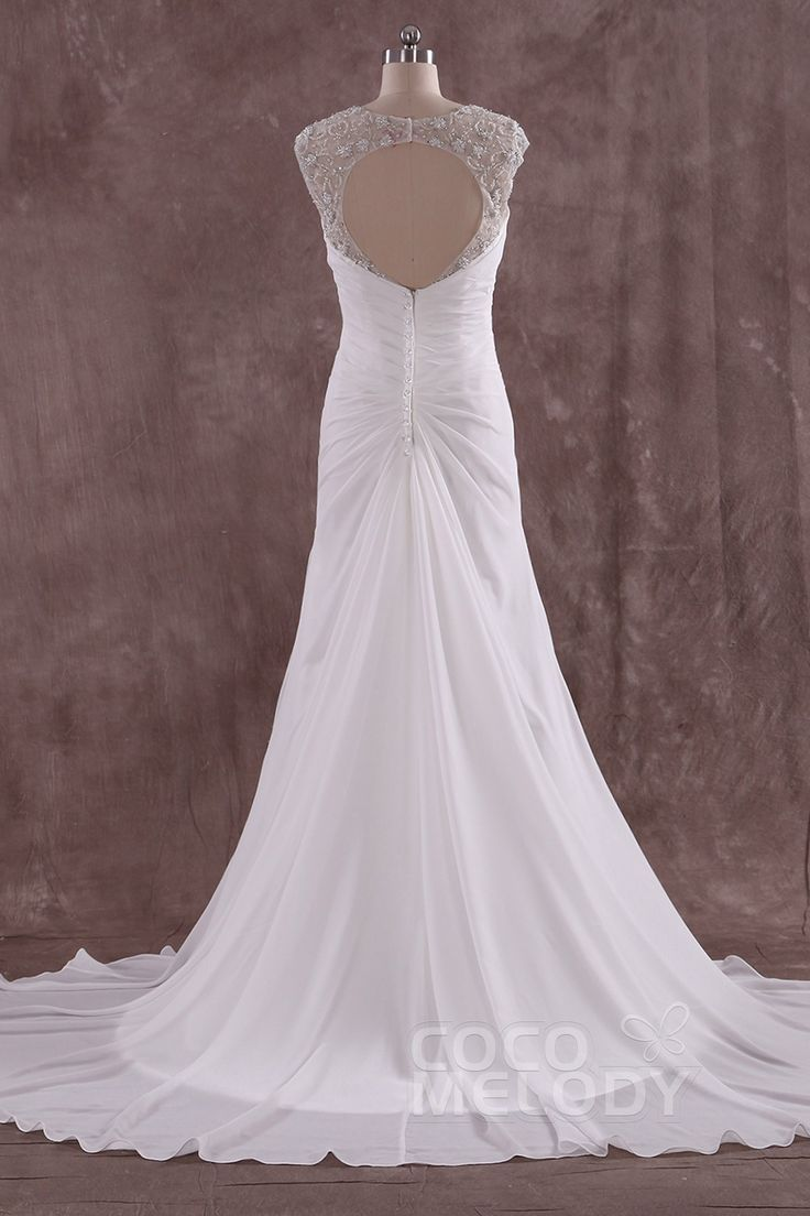 Chic Sheath-Column Straps Natural Train Chiffon Sleeveless Wedding Dress with Draped LWKT14001 #weddigdresses #cocomelody