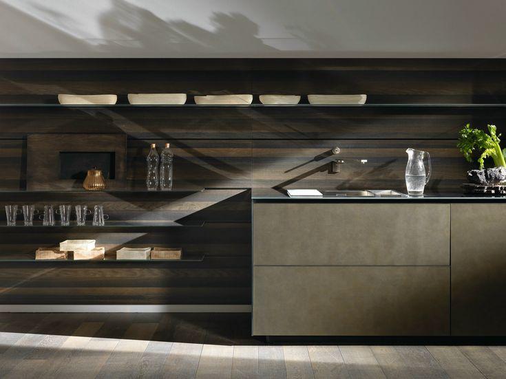 Cucina componibile lineare in acciaio RICICLANTICA INOX TOUCH by VALCUCINE design Gabriele Centazzo