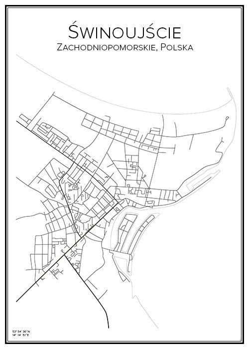 Świnoujście. Polen. Poland. Map. City print. Print. Affisch. Tavla. Tryck.