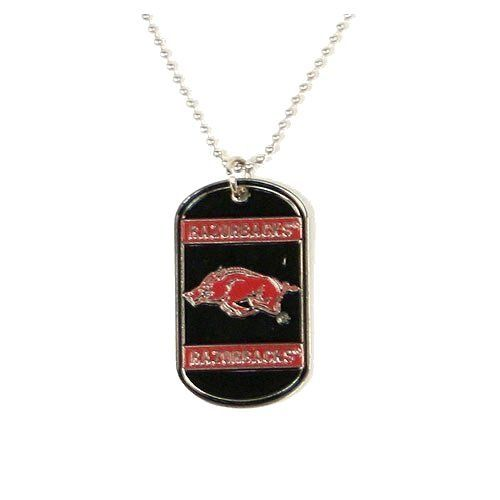 NCAA Officially licensed Dog Tag Necklace - Arkansas Razorbacks  http://allstarsportsfan.com/product/ncaa-officially-licensed-dog-tag-necklace/?attribute_pa_color=arkansas-razorbacks  Officially Licensed by the National FootBall Association (NFL) Back of dog tag is engravable. Vibrant colors of your favorite team on the dog tag.