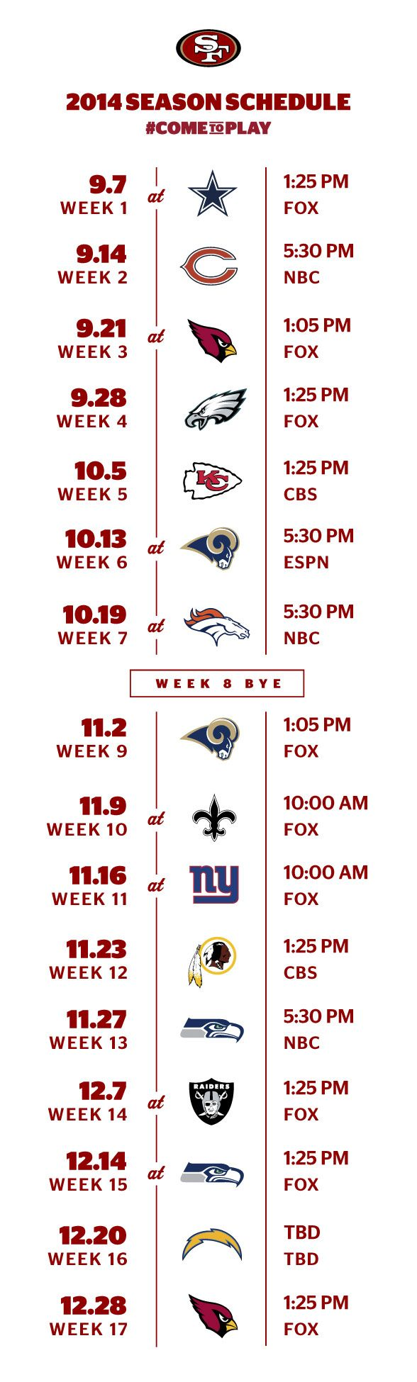 San Francisco 49ers 2014 Schedule Released-Yeah Baby!!!❤️❤️