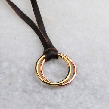 L. LOOP halsband, guld/rosé/läder