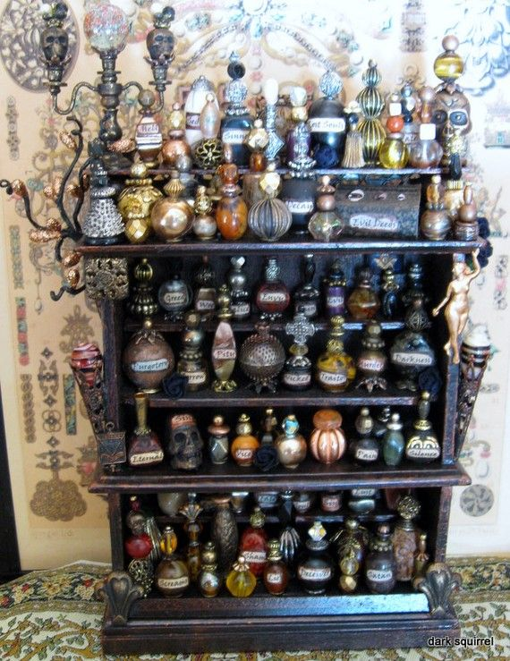 miniature halloween apothecary cupboard. LOVE the mini but I REALLY REALLY want a life size apothecary cupboard this full!!!