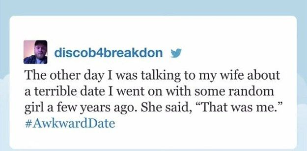 "Discob4breakdon, who had a hilarious awkward date: | 19 People Who Totally Nailed Jimmy Fallon's ""Tonight Show"" Hashtags"