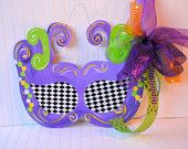 Mardi Gras Door Hanger, Mardi Gras Decor, Fat Tuesday