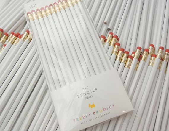 WHITE Jot down notes and doodle away with these chic Preppy Prodigy pencils. A revival of the old-school writing utensil with modern colors to