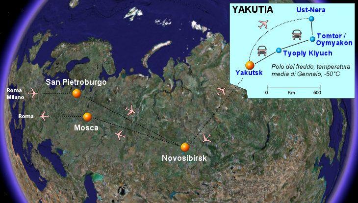 Viaggio in Russia e Siberia da San Pietroburgo a Novosibirsk e Yakutsk. Tour in Yakutia (Sakha) in inverno fino ad Oymyakon e Tomtor. Effetti del freddo estremo. Foto della Siberia.