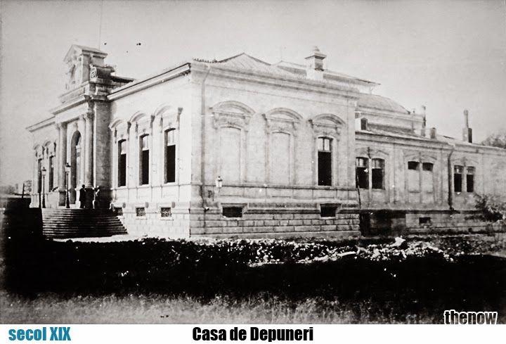 """După demolarea din 1875 a ansamblului Mănăstirii şi Hanului """"Sf. Ion cel Mare"""", care se afla într-o stare avansată de degradare, a fost ridicat primul sediu al Casei de Depuneri. Acesta nu a rezistat mult timp (două decenii), întrucât a fost demolat pentru a se construi, între 1897 şi 1900, Palatul Casei de Economii şi Consemnaţiuni (C.E.C.), cel de astăzi (proiectat de arh. Paul Gottereau)."""
