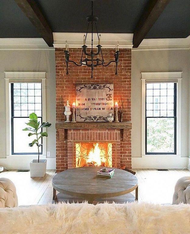 20+ Farmhouse Brick Fireplace Design And Decor Ideas ...