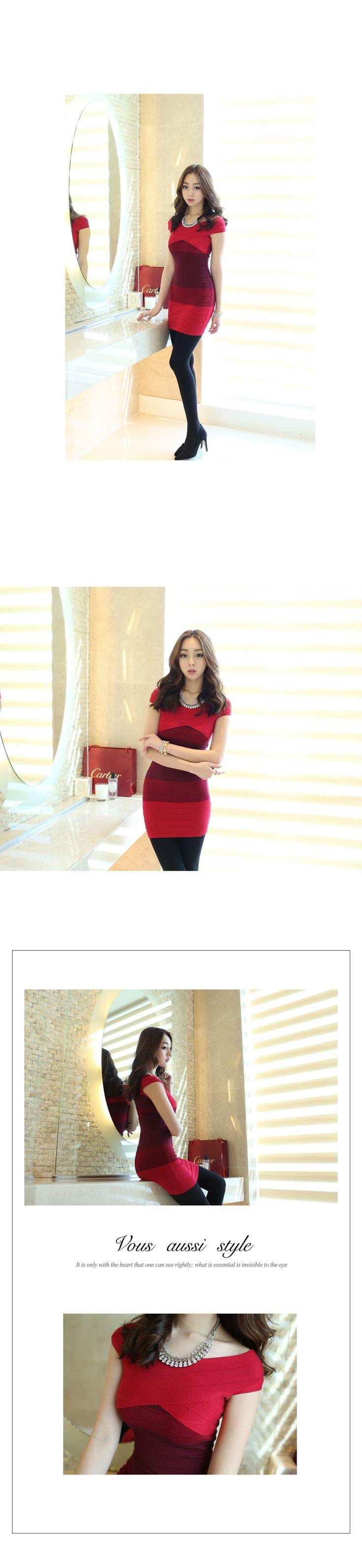 Dress berbahan elastis yang melekat di tubuh. Paduan beragam warna merah kuat yang chic dan modern. Juga tersedai dalam warna abu-abu yang bagus dipadankan dengan warna apapun. http://www.koreabuys.com/product/product_view.html?seq=18547