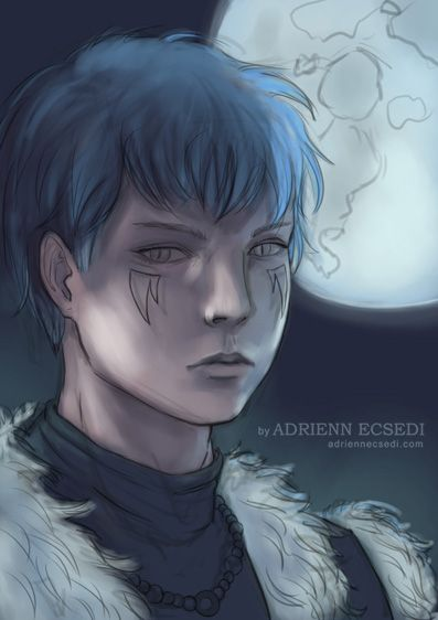 I have started painting him. Dark scenes are not easy to paint. Finding colors that works is a challenge. It can't be too dark either. I can now experiment with the moonlight. He is Shin-Ah from Akatsuki no Yona. His name actually means moonlight. :) Art by Adrienn Ecsedi
