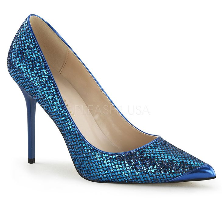 Pleaser CLASSIQUE-20 Navy Blue Glittery Lame Fabric Pointed-Toe Pumps