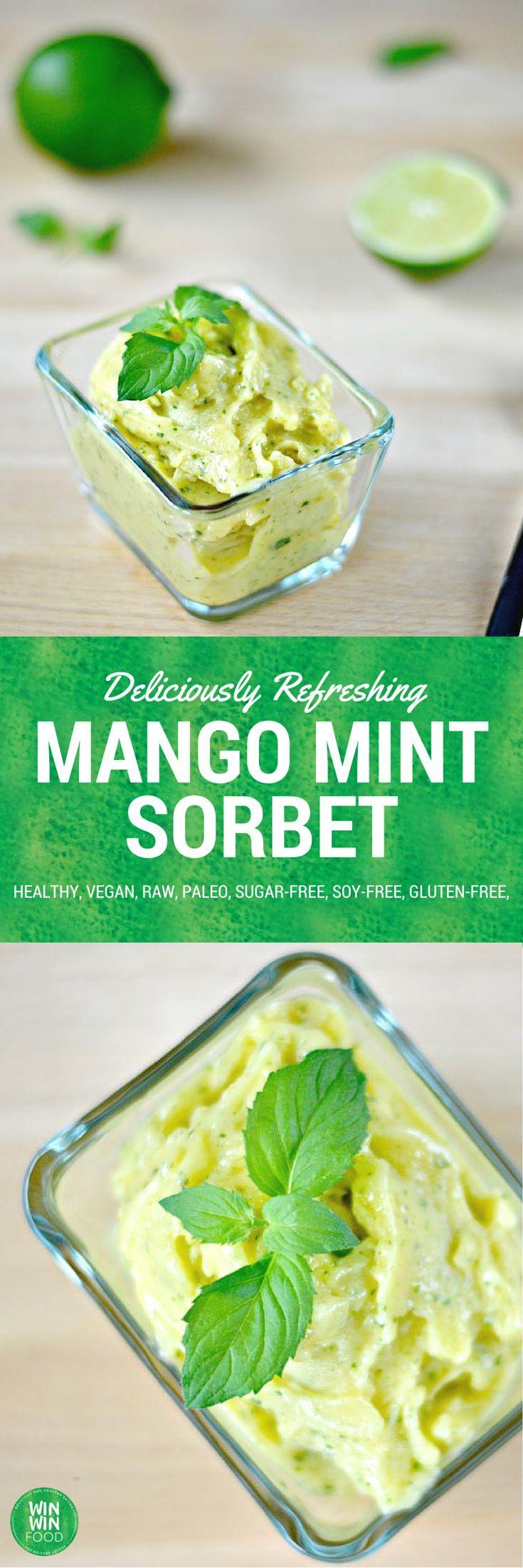 Lime Infused Mango Sorbet | WIN-WINFOOD #healthy #cleaneating #healtyeating…