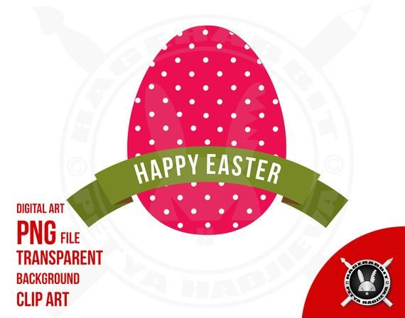 Happy Easter Egg Polka Dots Pink Green Banner Ribbon Shape Commercial Use Clip Art Png File Transparent Background Clip Art Happy Easter Easter Clipart