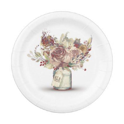 Vintage Rustic Floral Mason Jar Wedding Paper Plate - rustic gifts ideas customize personalize