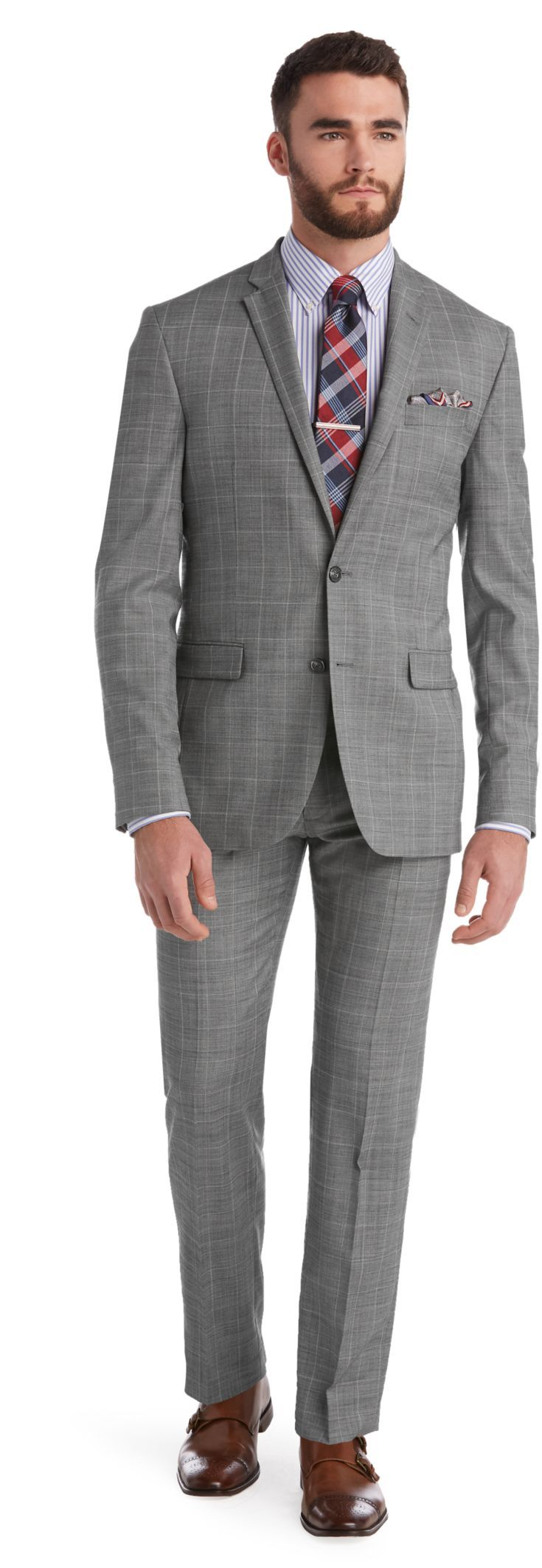 Check this out! 1905 Collection Slim Fit Plaid Sharkskin