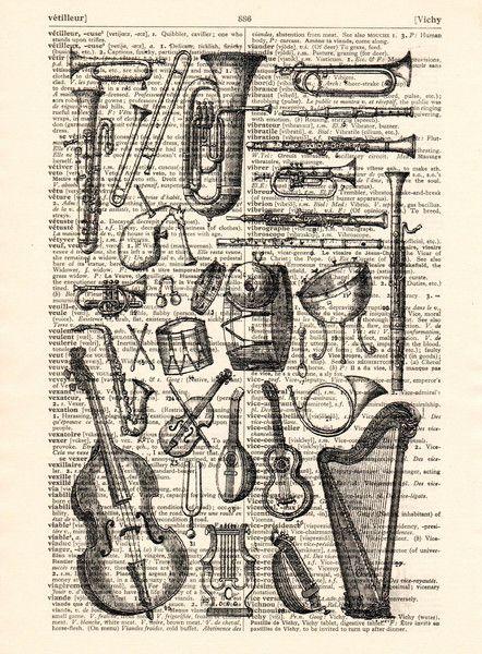 Stencils - Muziekinstrumenten kunst Dictionary boekpagina - Een uniek product…