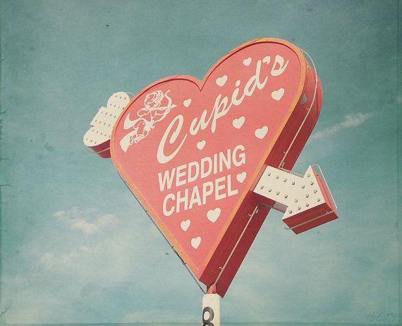 Las Vegas Cupids Wedding Chapel Nevada Photo Art Print Marriage Love Bond Couple Sweet - 8 x 8