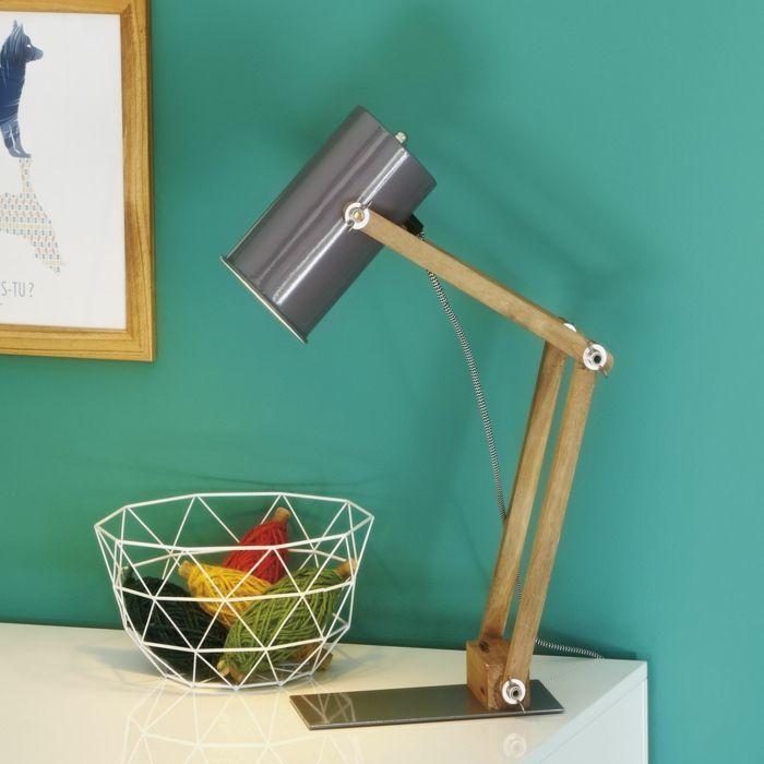 lampe alinea, lampe de bureau design chic en bois et métal, lampe de bureau articulée