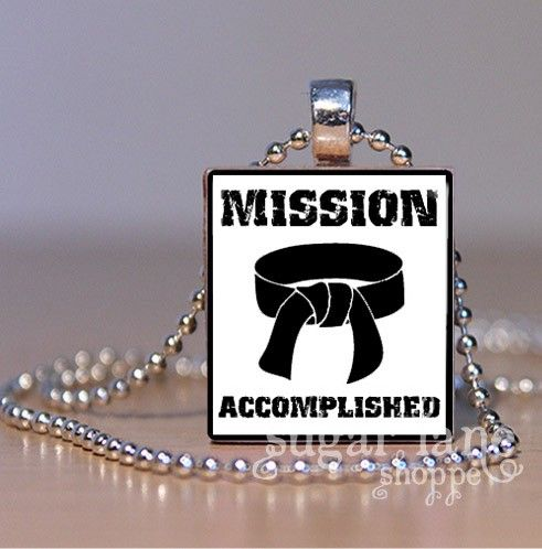 Karate Black Belt Necklace - Mission Accomplished (KD2) - Scrabble Tile Pendant with Chain. $6.95, via Etsy.