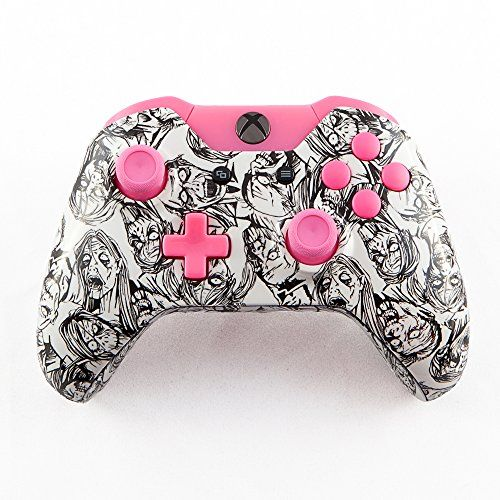 White Zombie With Pink Xbox One Controller Parts Kit, 2015 Amazon Top Rated Controllers #VideoGames