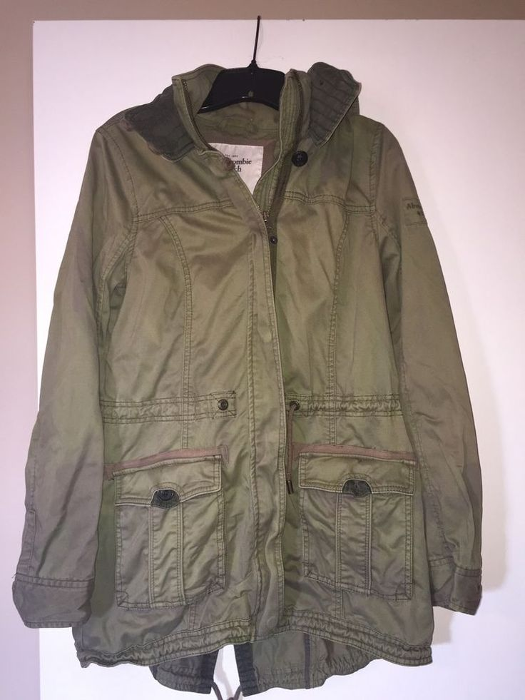 Abercrombie Fitch Women's L Large Olive Green Hooded Military Field Jacket READ #AbercrombieFitch #Military #Casual