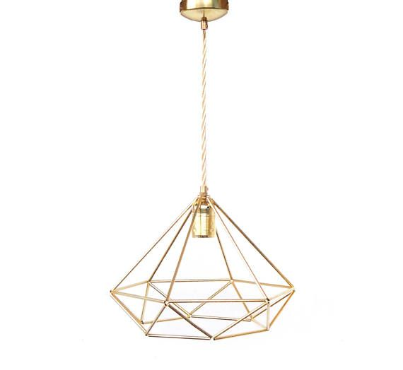 Brass Diamond Pendant Light Fixture Geometric Cage Lamp Shade