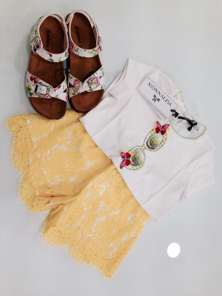 Monnalisa   Spring-Summer Collection   Girl #Monnalisa #spring #summer #collection #kids' #fashion #girl #yellow #white #tshirt #shoes #skirt #flower #summer #lover #carryonjunior