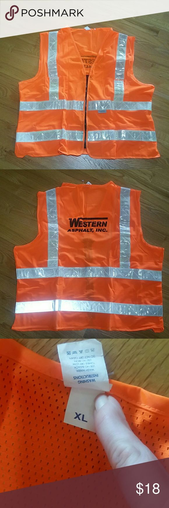 Construction Safety Reflective Vest Mens XL Brand new never worn Construction Safety Reflective Vest Mens XL  Western Asphalt Inc.  No trades  Can also sell on merc Other