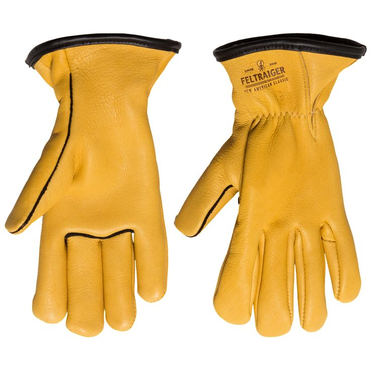 Deerskin Lined Glove - Yellow with Black Trim | Feltraiger