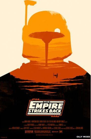 Olly Moss, The Empire Strikes Back. Star Wars Screenprint / Printmaking with Boba Fett.