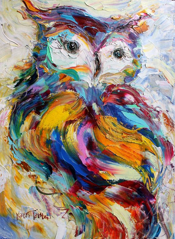 Original Owl palette knife painting impressionism by ...