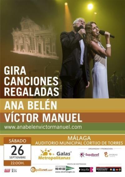 Ana Belén y Víctor Manuel en concierto en Málaga el próximo 26 de Septiembre en el Auditorio Municipal Cortijo de Torres
