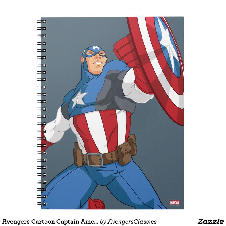 Avengers Cartoon Captain America Character Pose. Regalos, Gifts. #notebook #cuaderno