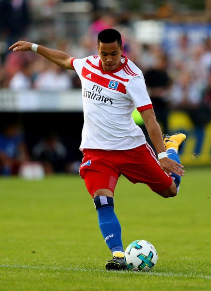 Bobby Wood of Hamburg runs with the ball during the preseason friendly match between Holstein Kiel and Hamburger SV at Gruemmi-Arena on July 19, 2017 in Kiel, Germany.
