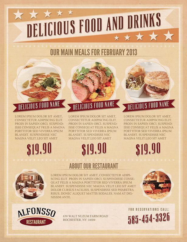 Restaurant flyer template menu styles pinterest for X cuisine miri menu