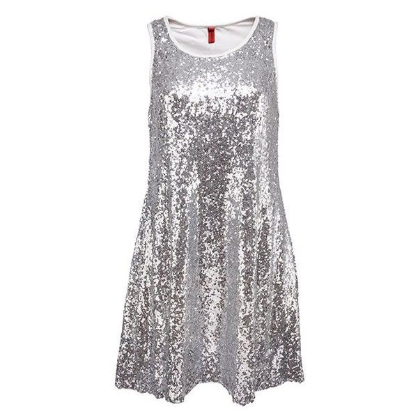 Silver Sequined Racer Back Vest Dress ($24) ❤ liked on Polyvore featuring dresses, racerback dress, silver dress, silver sequin dress, sequin embellished dress and silver sequin embellished dress