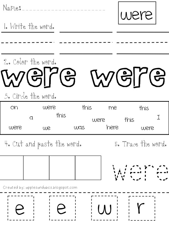 Printables Free Printable Sight Word Worksheets 1000 ideas about sight word worksheets on pinterest another tracefind print color cut and paste make my
