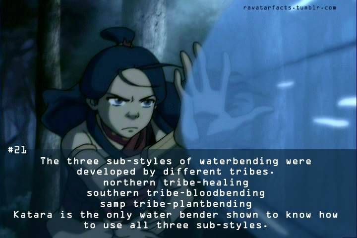 Random Avatar Facts-- This makes Katara the only true Waterbending Master, and that is why she is the perfect teacher for Aang!