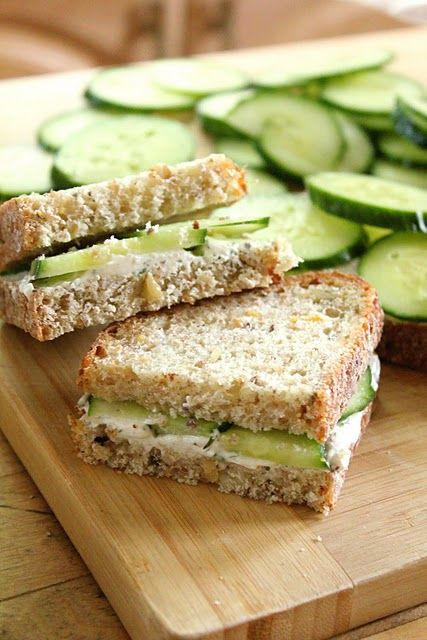 When served on a multi-grain bread, these herbed goat cheese and cucumber sandwiches are a healthy and delicious nibble for a Peter Rabbit baby shower. |  #peterrabbitparty #bunnyparty #peterrabbitbabyshower