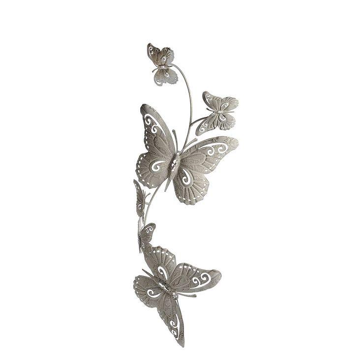 Vintage Wanddeko Schmetterling hellgrau ca L cm