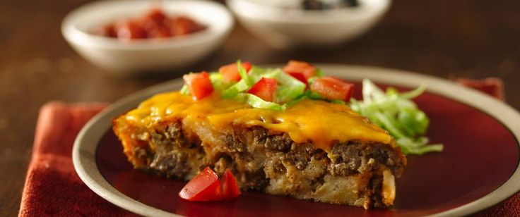 This super-easy taco pie will be a weeknight family favorite. Could be used for a new mom and family with a bags of toppings. No need to use the green chiles. Could use an 8x8 pan. Sides: Caesar salad and biscuits/rolls. Desserts: cookies