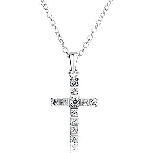 """Pugster 925 Sterling Silver Clear Crystal Cross Diamond Accent Religion Pendant Necklace 18"""" Gift Pendants Pugster. $23.99. Weight: 3.5. Metal: Swarovski Crystal. Size: 14.40*2.92*27.24. Color: Silver"""