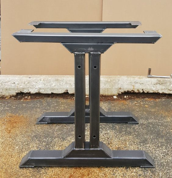 Stylish Dining Table Legs, Industrial Kitchen Table Legs Heavy Duty steel tubing legs. 28 H x 28 W This listing is for set of 2 Steel Tubing Legs. - Made from Steel Tubing - 3 x 2 x 14 ga wall, Tubing 3 x 1 1/2 and Square Tubing 2 x 2 - Legs are predrilled. - Finish - Clear coated, Black flat.