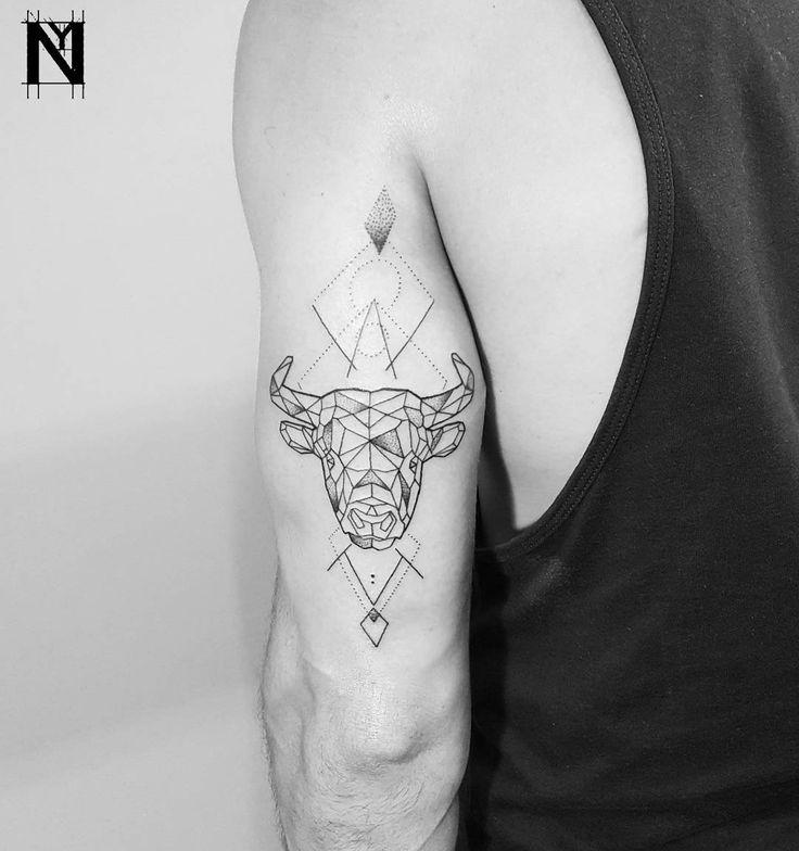 Geometric Bull Tattoo by Noam Yona