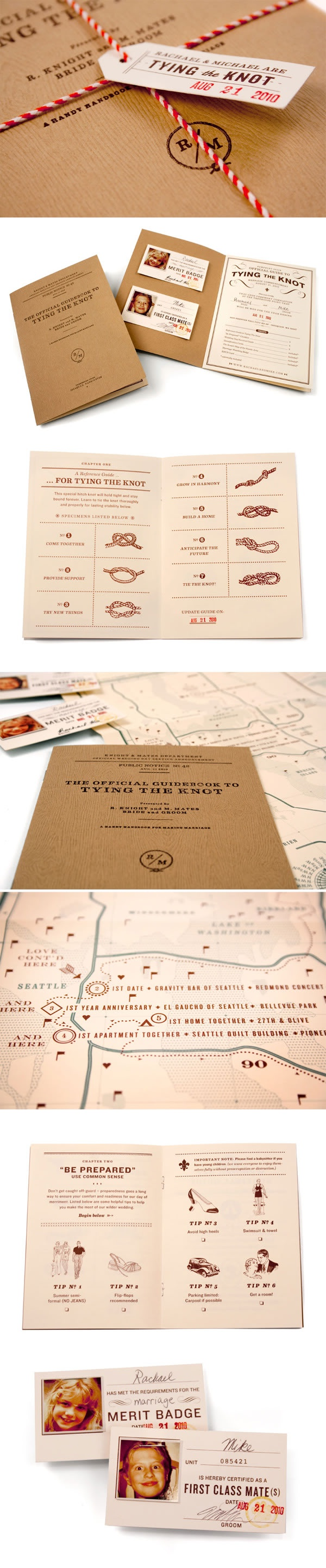 The most creative incredible invitation I have seen ever! The art of tying the knot...