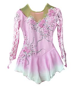 Ice+Skating+Dress+Women's+Long+Sleeves+Skating+High+Elasticity+Figure+Skating+Dress+Thermal+/+Warm+Breathable+Handmade+Sequined+Pearls+–+EUR+€+176.32